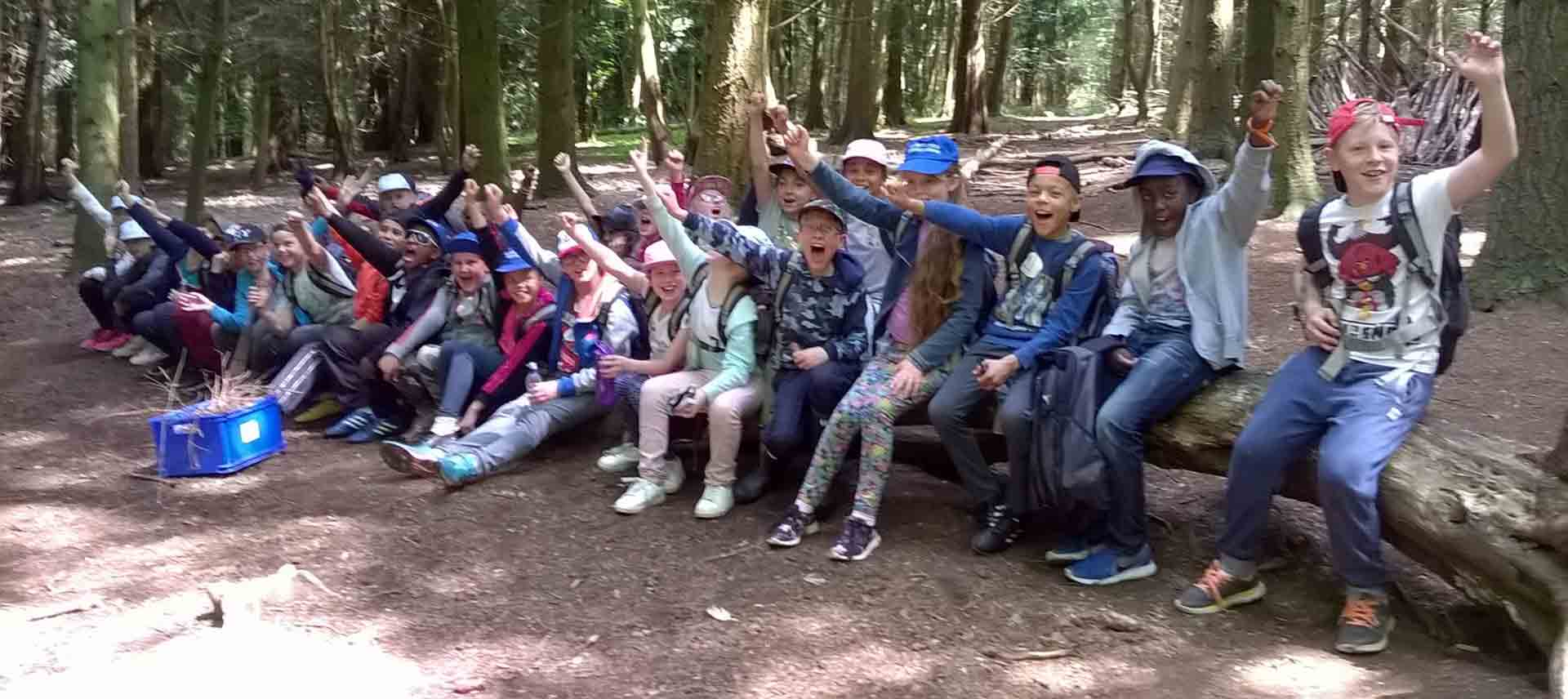 Children on a day visit to Everdon sitting on a log in the forest and cheering